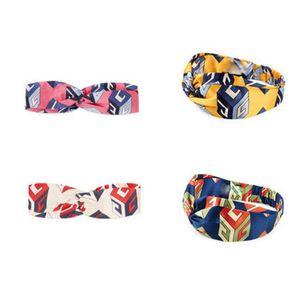 Дизайнер 100% шелк крест оголовье 2018NEW прибытие роскошный эластичный геометрия Hairband для женщин девушка ретро тюрбан головные уборы подарки