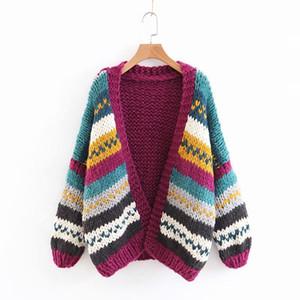 Il nuovo cardigan da donna autunno e inverno 2018 lavorato a maglia a mano cuciture a contrasto tinta unita maglione allentato con scollo a V cardigan