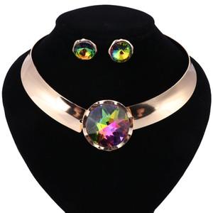 2018 New African Perlen Schmuck-Set Halskette Ohrringe Dubai Modeschmuck Sets Luxus Hochzeit Frauen Kostüm Schmuck-Set
