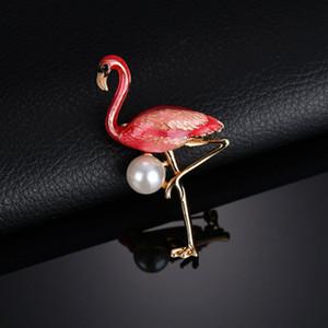 Новая тенденция взрыва высококачественная цветная брошь капли фламинго Жемчужная брошь булавки Эпоксидная эмаль мультфильм брошь животных