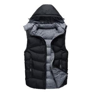 Mens конструктора тавра вниз жилет Повседневный капюшоном Зимняя куртка Мужчины Открытый Ветровка вниз Double Sides носимого Coat