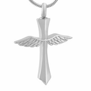 IJD9654 Women Men Memorial Urn Jewelry Angel Wing Cross Stainless Steel Cremation Keepsake Jewelry Pendant Necklace for Ashes