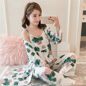 Новый женский 3 шт пижамы наборы молочный шелк спагетти ремень топы и длинные брюки и длинные ночные рубашки пижамы пижамы набор S1015