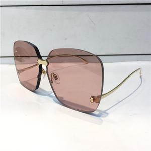 0352 Солнцезащитные очки для женщин Дизайнерские Модные солнцезащитные очки Wrap Sunglass бескаркасных покрытие Зеркало объектива углеродного волокна Ноги Летний стиль 0352S