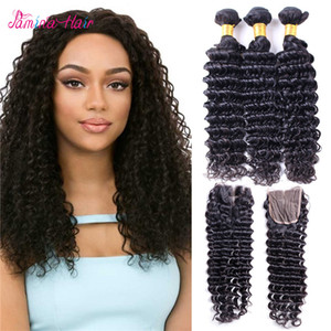 Mink Brazilian Deep Wave With Closure 4 Bundles With Closure Unprocessed Brazilian Hair With Closure Human Hair Weave