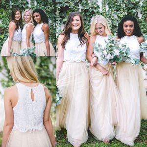 Горячая две пьесы страна невесты Платья линия кружева топ Jewel шеи длина пола тюль длинные фрейлина платья свадебные платья гость платье