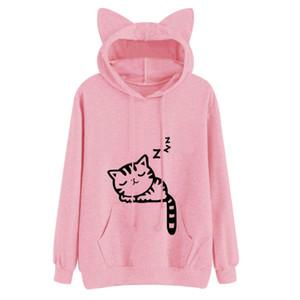 Moda Kawaii Cat Ear Hoodies Donna Cute Cartoon Sleeping Cat Print Felpa con cappuccio Casual Loose Pullover Tuta Capispalla