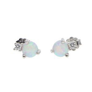 100% 925 plata esterlina dos piedra clara cz blanco fuego ópalo joyas delicadas envío de la gota de alta calidad plata pendiente de ópalo