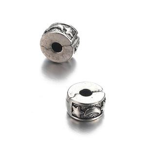 50pcs 14 design amore musica fiore foglia di delfino stella luna punto europeo perline clip stopper fascino perline distanziatore per braccialetto apribile