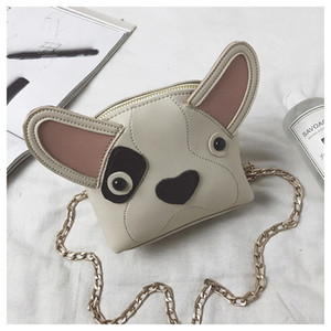 Children bag girls cute dog single shoulder bag kids stereo ear PU messenger bag fashion new children cartoon chain handbag A01137