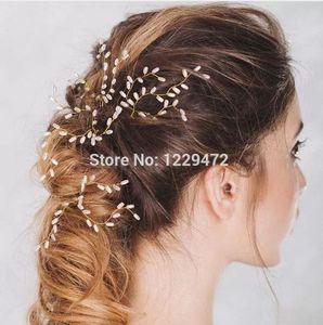 TREAZY 2 PCS Elegante Nupcial Do Casamento de Cristal Pérola Flor Pinos de Cabelo Handmade Da Dama De Honra Véu De Noiva Jóias Acessórios Para o Cabelo