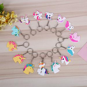 Lindo cuento de hadas del PVC Unicornio llavero Multi-estilo del anillo dominante del caballo para mujer regalo del favor de partido de las muchachas ZA6679