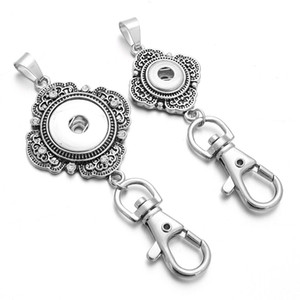 Noosa Snap Bouton Chaînes Clés Lanyard Porte-clés Argent Pendentif Bijoux Fit 18mm 12mm Snap Bouton Cadeau Hommes Femmes Bijoux