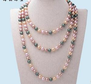 Nanyang nacre 10 mm ronde chaîne de chandail de perles naturelles collier long nanyang doré perlé 50 '' trois couleurs cadeau optionnel