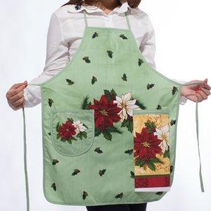 Neues Design 100% Baumwolle Damen Küchenschürzen Kreative Cartoon Gedruckt Kochschürze Mit Taschen Handtuch Haushaltsreiniger Werkzeuge