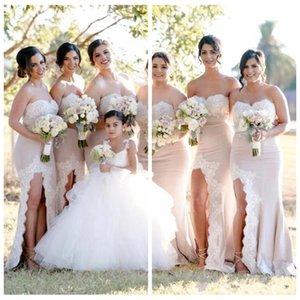 Vestidos de dama de honor de campo largo sexy Sirena cariño High Side Split 2019 con apliques de encaje blanco Vestidos de invitado formales Honor de la criada