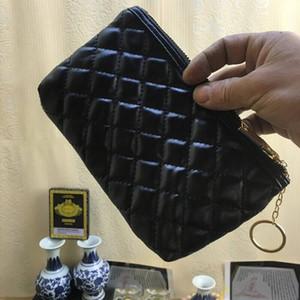 ¡NUEVO! Bolsa de maquillaje de moda logotipo famoso acolchado color negro oro con caja estuche cosmético bolso de embrague del organizador del maquillaje del partido de lujo (Anita)