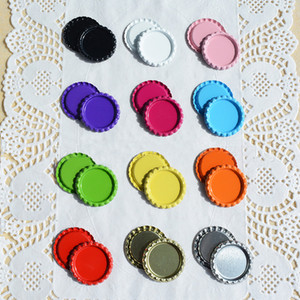 25pcs 25mm Colored Round Flattened Bottle Caps Flat Bottlecaps For DIY Hairbow Crafts Hair Bows Necklace Jewelry accessories