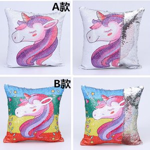 Mermaid Sequins Sofa Pillow Case Cartoon Unicorn Cushion Cover Glitter Sequins Pillowcase Reversible Sequins Pillow case cover