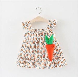 Vestido de verano 2018 NUEVA llegada Niñas Niños mosca Manga Dibujos animados rábano impreso niñas vestido lindo niños con bolsa de rábano vestido de algodón 3 colores