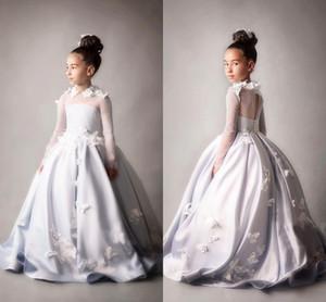 Fildişi Sheer Uzun Kollu Güzel Çiçek Kız Elbise A Hattı Saten Kelebek Çiçekler Kızlar Pageant Törenlerinde Çocuklar Örgün Düğünler Için Giymek