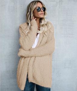 2018 осень зима мода женщины кардиган нечеткие куртки длинные Sleegvge с капюшоном тонкий мягкий пальто Женская верхняя одежда повседневная одежда LC25