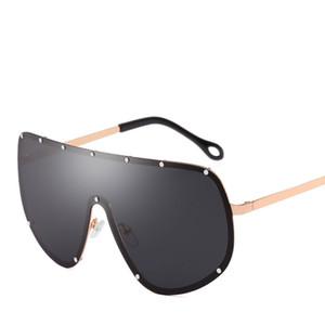 Polarized oversize óculos de sol das mulheres sem aro lente integrada óculos de sol da marca designer de moda homens óculos de condução goggle uv400