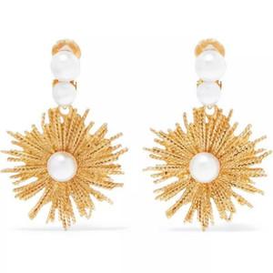 Women Vintage Metal Sun flower stud earings Pendant punk jewelry Pearl earrings gold irregular earring bridal brincos