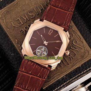 Luxry New OCTO FINISSIMO 102138 BGO40BPLTBXT Tourbillon Dial rojo Reloj automático para hombre Caja de acero inoxidable 316L Relojes con correa de cuero 04