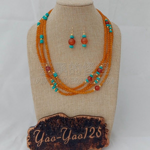 S011823 19 '' 4 Strands Orange Gems Red Stone Necklace Pendientes Conjuntos