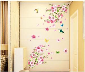 Бесплатная доставка элегантный цветок стены стикеры изящные цветение персика птицы стены стикеры мебель романтическая гостиная украшения