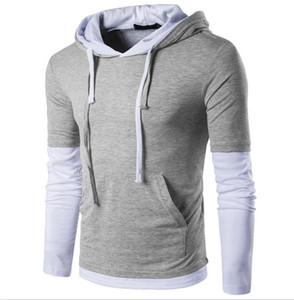 Sonbahar Moda Erkekler İpli Tasarımcı Hoodie Kol Dikiş İki Sahte O-Yaka Uzun kollu Kapşonlu İnce tişört Men Casual