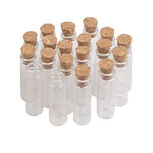 100units 2ml 1 ml Encantos de vidro bonito Garrafas pingentes com Cork pequena garrafa Desejando charme colar de pingentes Vial