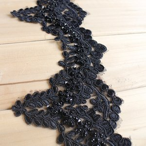 Sale by Yard black French embroidery Lace Trim with Beads Wedding bridal dress veil Lace accessory T023