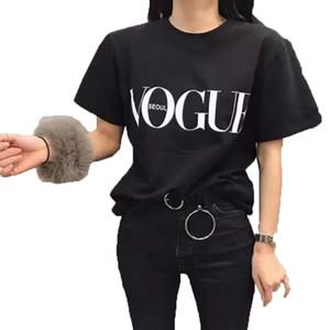 흰색 검정색 웃긴 T 셔츠 여성 T 셔츠 Femme 상판 프린트 특대 티 셔츠 더하기 O 넥 보그 귀여운 그래픽