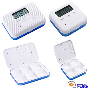 Creative Pill Case Box For 4 And 6 Slots Cross Pill Organizer Container Can SET Reminder Time Square Tablet Case Storage Holder DHL HH7-1273