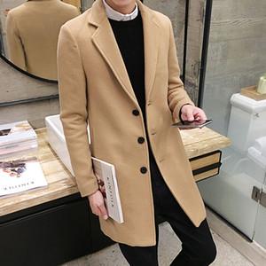2018 Novo Inverno Casaco De Lã Dos Homens Lazer Longas Seções Casacos De Lã dos homens de Cor Pura Casuais Moda Casacos / Casuais Homens Casaco