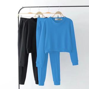 XUANCOOL осень спортивный костюм с длинным рукавом твердые кофты старинные Женская одежда 2 шт. набор растениеводство топы + брюки спортивный костюм женский