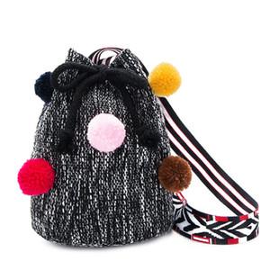 2018 bambini delle ragazze dei capretti Borse String piccolo secchio Canvas Handbag Bambino Bambine femmine Cross Body Bag Phone paglia borsa di alta qualità 2 colori
