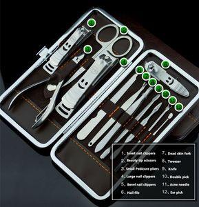 Dropshipping 12pcs / Set en acier inoxydable Manucure Set Kit de soins des ongles Nail Clipper Outils Toe Cutter Professional Cuticule Nipper