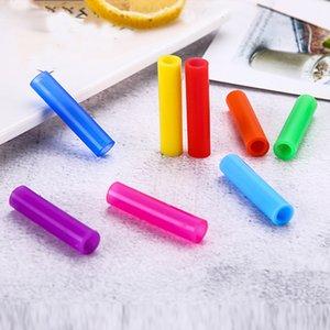 Accessoires de paille 100pcs / LO Dents Protecteur antichoc Silicone Sleeve Bar Barre en acier de paille Réutilisable Accessoires à manches en acier inoxydable 6mm Cbmed