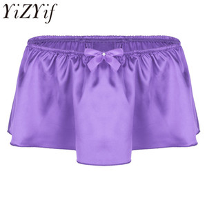 2018 mens lingerie doux brillant satin à volants Bloomer à jupes culottes sissy boxer shorts sous-vêtements sexy gay clubwear