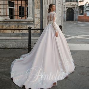 Elegante Corte dei treni da sposa abito illusione Pizzo e dal O-Collo abito di sfera Abiti da sposa 2019 Vestido Branco