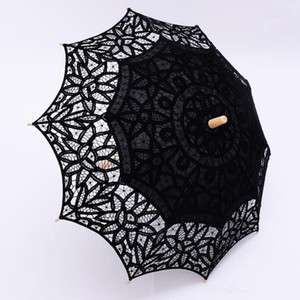 vintage Black Lace Parasol Umbrella Gothic Fancy Hollow Vintage Victorian Wedding Parasols for Bride Bridesmaid Good Quality