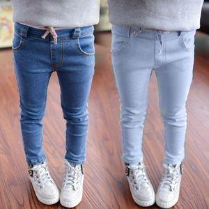 Top Venda Calças Jeans Menina Criança Denim Calça Jeans Fino Para Crianças Calça Jeans Sólida 2 Cores Crianças Desgaste Calça Jeans Criança