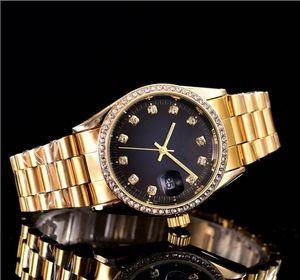 38mm diamant automatique date calendrier mode de luxe Bracelet en or et en argent de la ceinture en acier allié mouvement à quartz maître horloge homme cadeaux