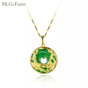 MGFam (173P) Dragon and Phoenix Pendant Necklace For Women Green Malaysian Jade China Ancient Mascot 24k Gold Plated with 45cm Chain