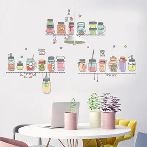 Cup Sticker Cute Cartoon Wall Painting Murale PVC aereo Sticker decorazione della casa bottiglia pittura ristorante Wall Sticker