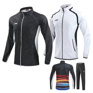 Outono Inverno Adulto / Criança Li Ning badminton terno, Lin Dan casaco Calças compridas Campeonatos Mundiais de treinamento sportswear Black white peteca set