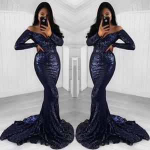 2020 Étincelle bleu marine Paillettes sirène Robes de bal récent Encolure Vintage manches longues Robes de soirée balayage train